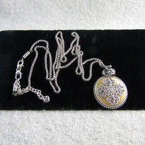 BRIGHTON Round Disc Filigree Pendant Necklace